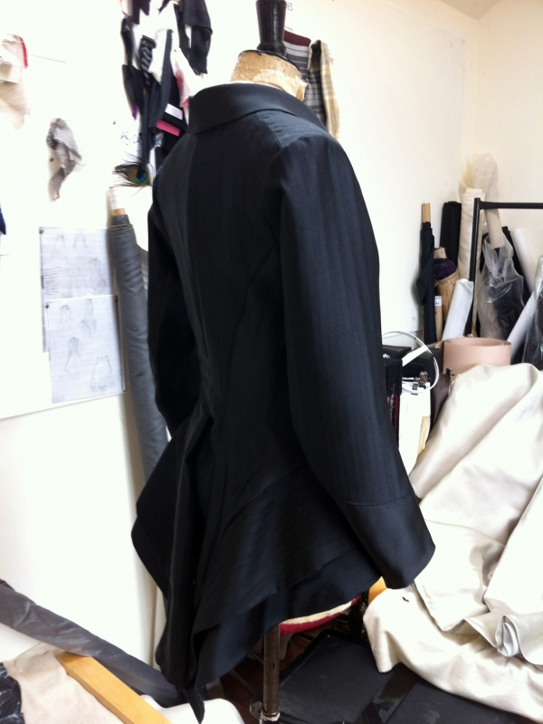 Black silk Tailcoat in progress